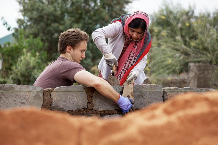 Malala Yousafzai and Craig Kielburger build school_photo courtesy of Free The Children